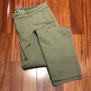 JCrew Waverly Chino olive green pants, size 12